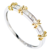 Classical Infinity Luxury Jewelry Handmade Simple Pure 100% 925 Sterling Silver Princess Cut 5A Zirconia Separate Gold Ring Gift