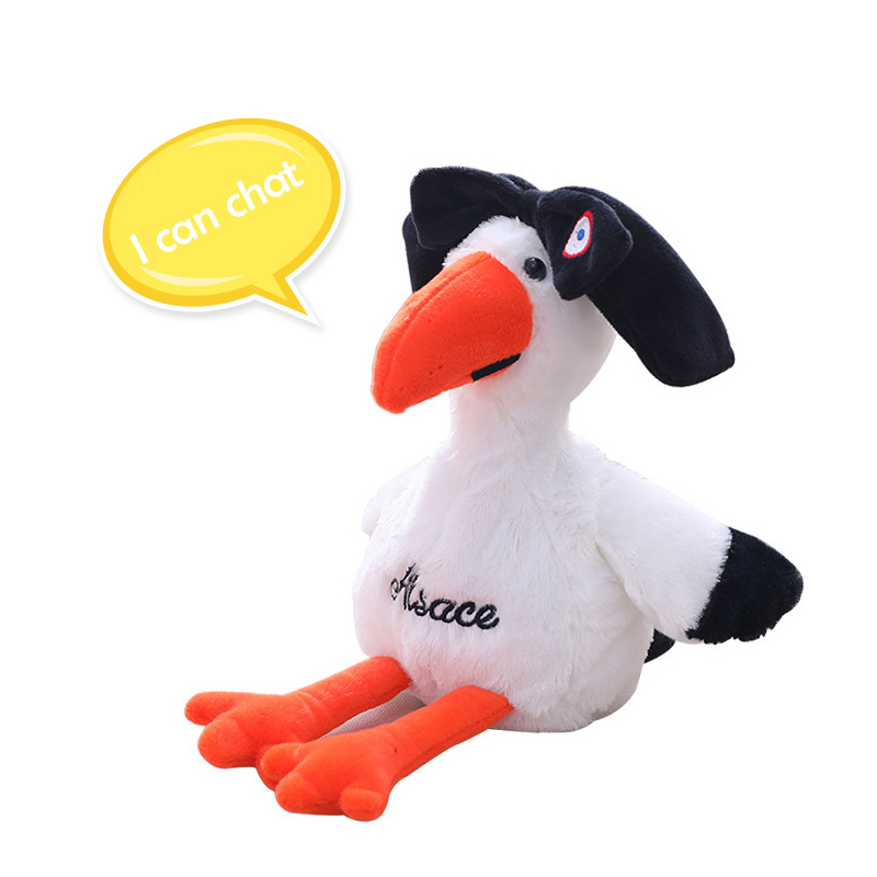 Electric Talking Plush Toys Flamingo Bird Can Nod Dancing And Repeat Stuffed Speak Bird 25cm Soft Doll Toys For Children Adult