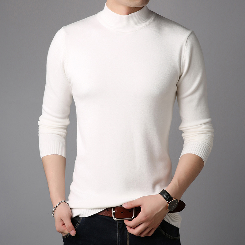 2019 Autumn New Men's Sweater Fashion Casual Korean Version Of The Body Pure Color Semi-high Collar Jerseye Men MP15