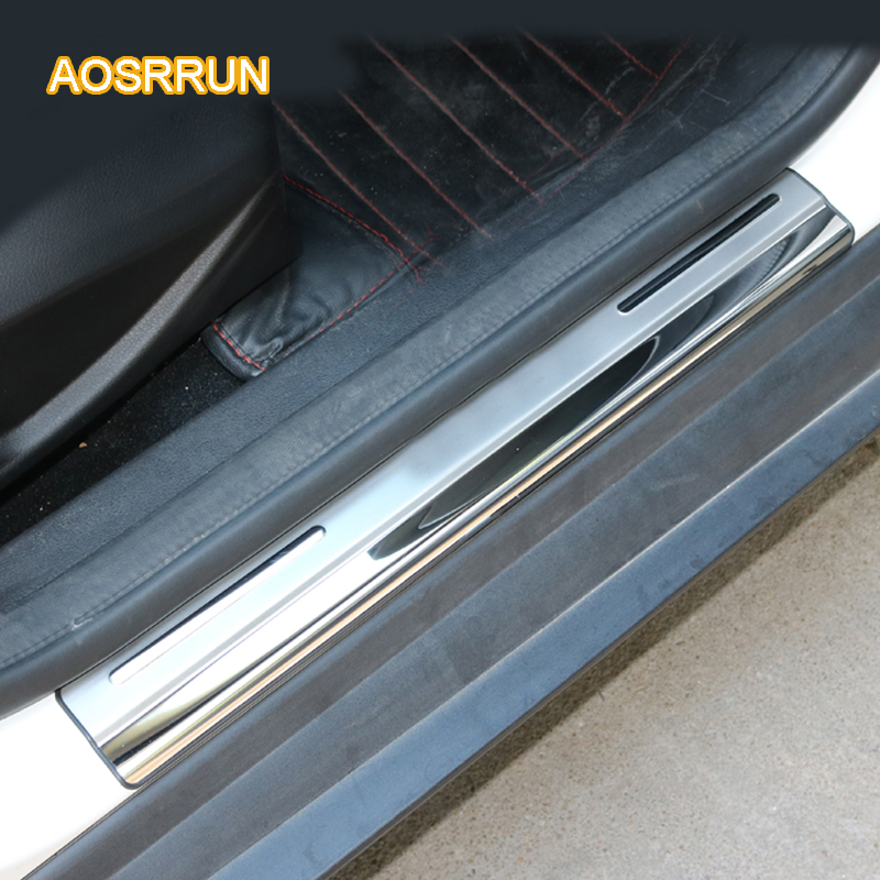 Stainless Steel Door Sill Scuff Plate Trim Car Accessories for Ford Focus 3 2 Hatchback Sedan 2006 2008 2009 2010 2011 2012 2013 stainless steel car door sill scuff plate trim cae styling for land rover range rover sport 2006 2007 2008 2009 2010 2011 2012