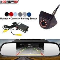 Koorinwoo Allroad Automobiles Car Parking Sensors Monitor Rearview Mirror parktronic system Brumper Metal detector Reverse Black|Parking Sensors| |  -