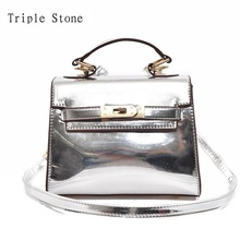 Triple Stone Mirror Holographic Leather Handbag Lady Luxury Platinum Clutches Girls  Messenger Bag Glossy Pearl Crossbody Bags