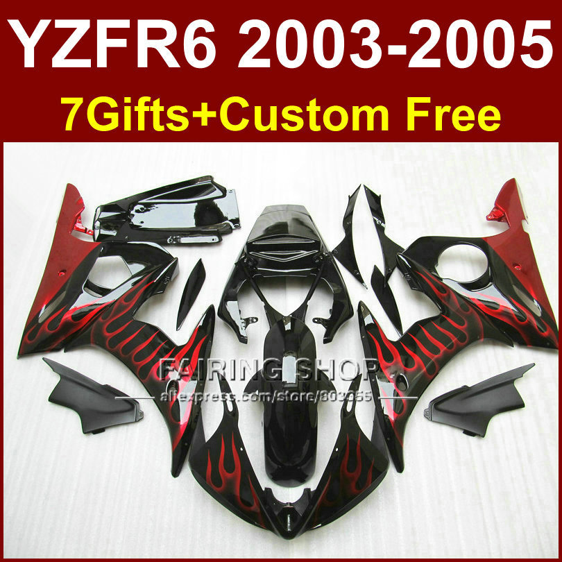 FER Motorcycle fairing set for YAMAHA YZFR6 2003 2004 2005 fairings kit YZF R6 03 04 05 YZF1000 red flame in black bodyworks mfs motor motorcycle part front rear brake discs rotor for yamaha yzf r6 2003 2004 2005 yzfr6 03 04 05 gold