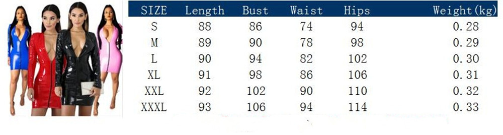JRRY Women PU Leather Dresses Zippers Faux PU Leather Dress High Elasticity Sheath Dress Deep V Neck Faux Leather Short Dress