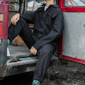 Image 4 - Incerun Nam Thời Trang Hàng Hóa Áo Liền Quần Phong Cách Punk Hip Hop Túi Quần Rời Chắc Chắn Tay Dài Rompers Quần Jumpsuit Dạo Phố 2020