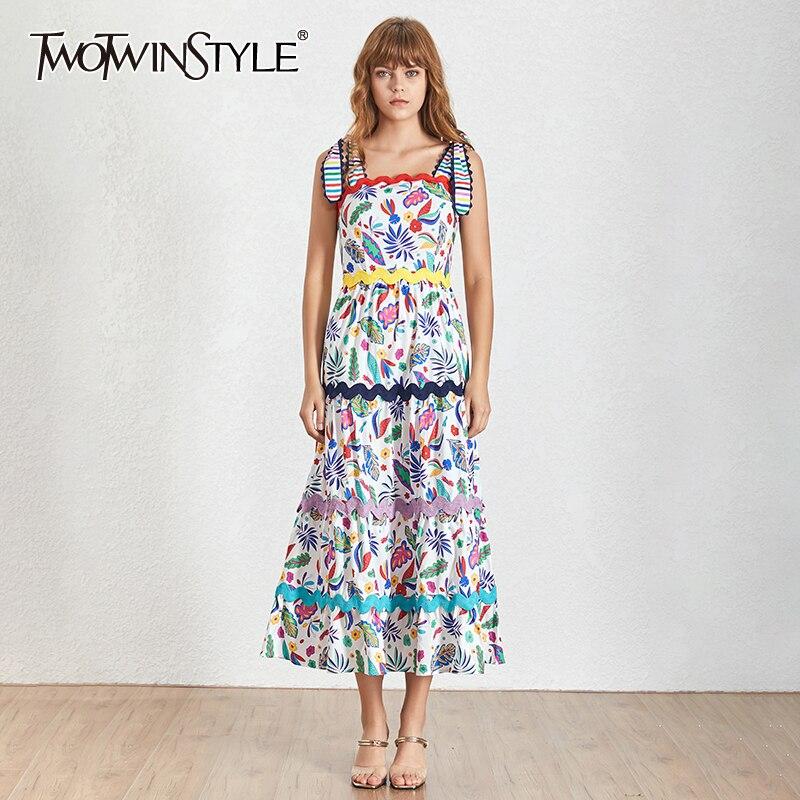 Deuxtwinstyle été Vintage couleurs imprimer femmes robe col carré Spaghetti sangle taille haute Slim a-ligne mi-mollet robes 2019