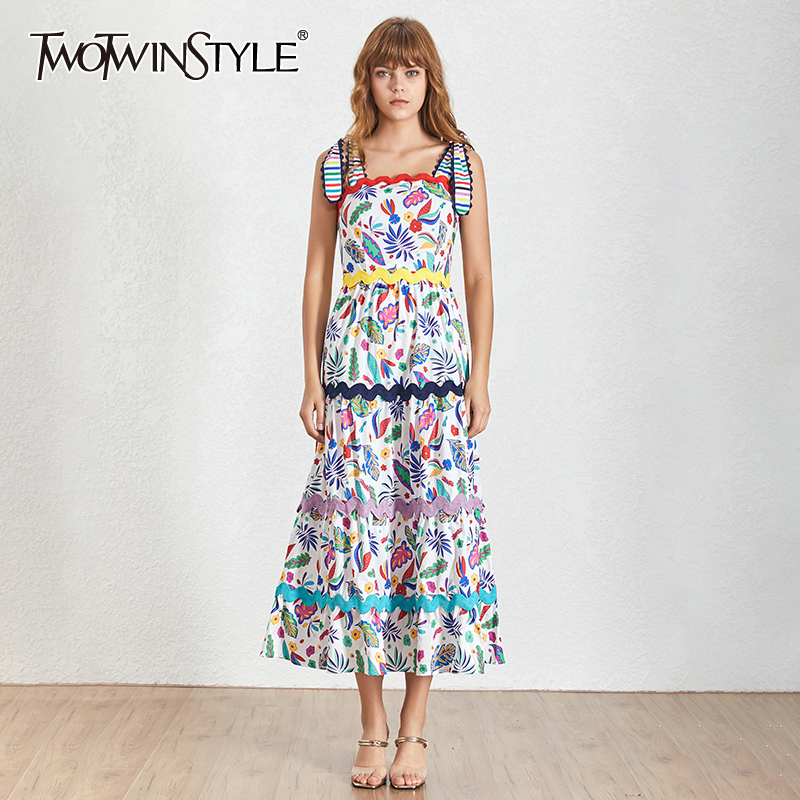 TWOTWINSTYLE Summer Vintage Colors Print Women Dress Square Collar Spaghetti Strap High Waist Slim A-line Mid Calf Dresses 2020