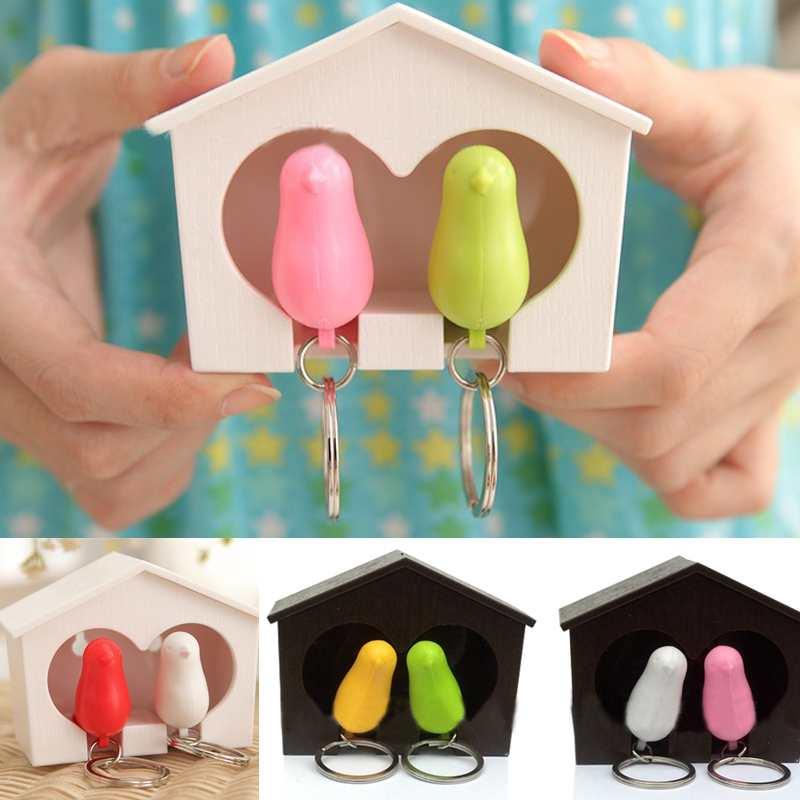 1Set 2016 Fashion New Women Charm Lover Sparrow Birdhouse Keychain Home Wall Hook Bird Nest Holder Key Ring Gift