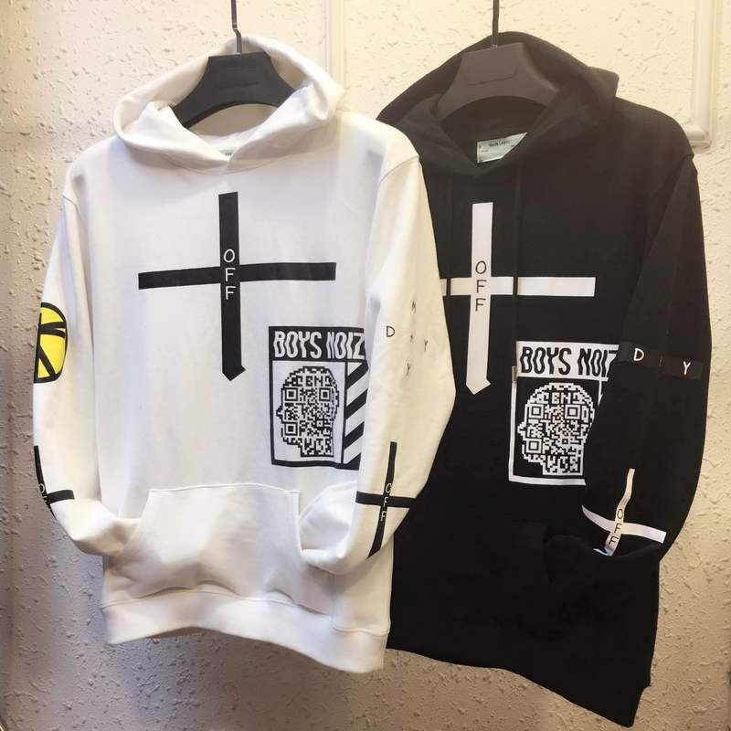 product 2017 Off White China Boys Noize Collaboration Mayday Collection Cross Pattern Print Mens Long Sleeve Cotton Pullover Hoodie
