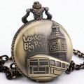 Тд унисекс лондонский ретро роскошный кварцевые карманные часы цветочные руки стеклянный шар подвеска цепь + подарочной коробке