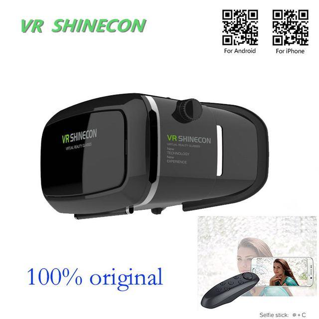Горячая! shinecon Очки Google Картон виртуальная Реальность VR Pro Версия VR Очки + Smart Bluetooth для Беспроводной Пульт Дистанционного Управления Геймпад