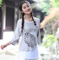 Brand New Design Gray Chinese Style Blouse Female Cotton Linen Shirt Print Flower Spring Autumn Tops