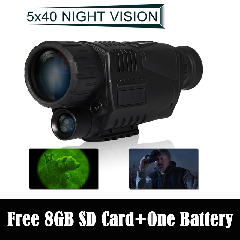 BOBLOV WG-37 Tactical Digital IR Infrared Night Vision Monocular Scope 200m 5X40 Zoom Record DVR+Free 8GB SD Card+One Battery rongland nv 760d infrared night vision ir monocular telescopes 7x60 dvr record