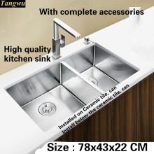 Tangwu High End Luxurious Kitchen Sink Food Grade 1.2 Mm Thick 304  Stainless Steel Hand