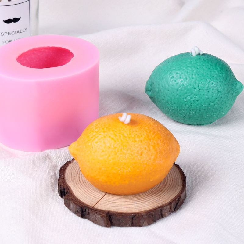 Fruits Soap Silicone Mold Lemon Plaster Crafts Mould Round Shape Soap Candle Making Molds