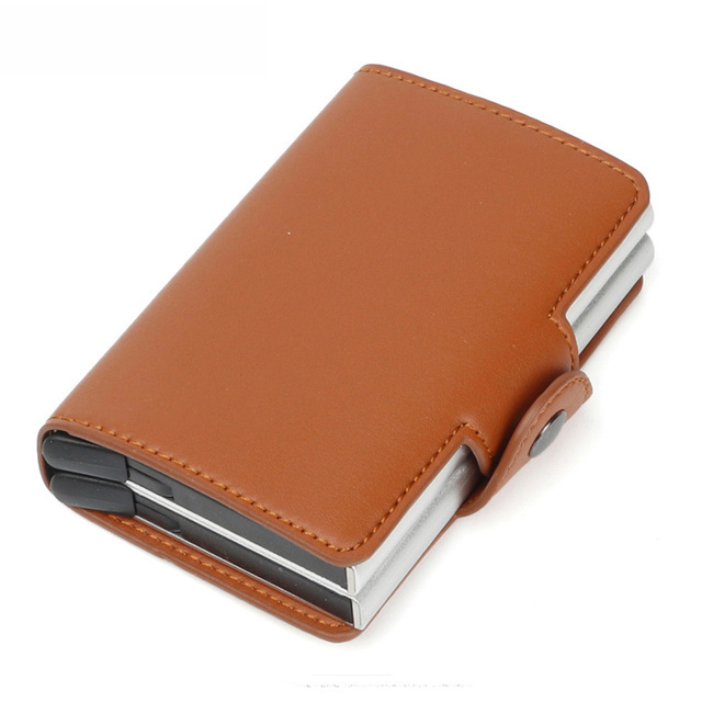 Fashion Microfibe Leather Card Holder Mini Rfid Wallet Double Box Unisex Aluminum Credit CardHolder Automatic pop-up Metal Purse