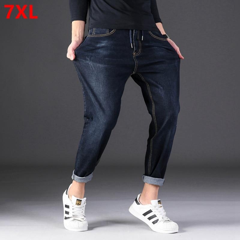 Tide Big  Man Harlan Elastic Waist Large Size Men 7XL 6XL Jeans Plus Fertilizer To Increase Casual Trousers Male