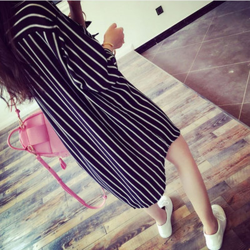Top Fashion 2018 Womens OL 3/4 Sleeve Shirt Striped Long Blouses Løse Topper Blusas Femininas Korean Style Plus Stor Størrelse XS-5XL