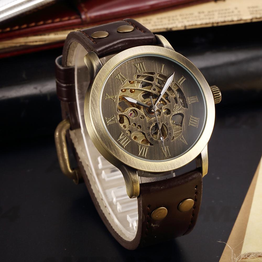 Prix pour SHENHUA Vintage Conception Homme Montre Squelette Cadran Relogios Auto Hommes Mécaniques de Montres Casual horloges mannen