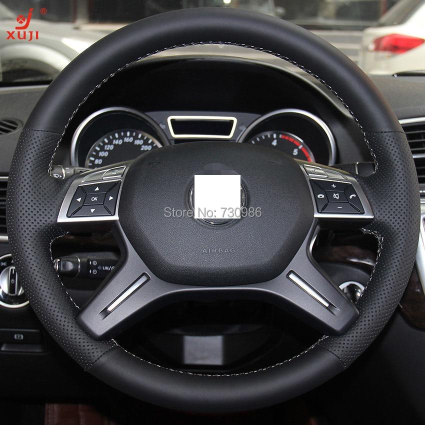 LUOERPI Cubierta del Volante del Coche de Cuero Genuino Cosida a Mano para Mercedes-Benz M-Class ML350 ML500 2005 2006 GL-Class GL450