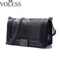 2017 известный бренд сумка Для женщин Аллигатор Кожа PU Сумки на плечо Crossbody Цепи блока сумка Высокое качество Для женщин Курьерские сумки