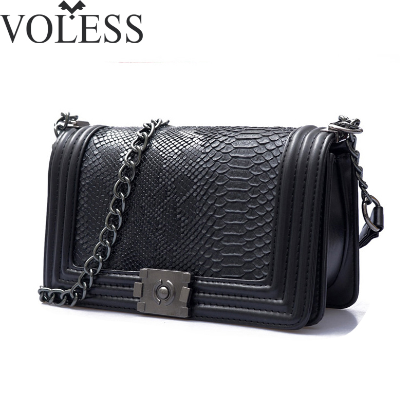 2017 Famous Brand Bag Women Alligator Pu Leather Shoulder Bags Crossbody Chains Block Bag High Quality Women Messenger Bags