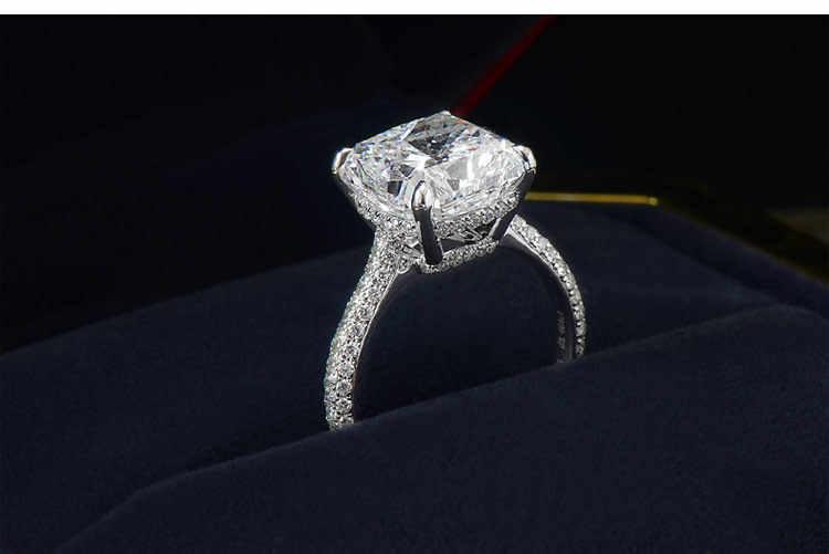 Luxury หญิง 925 แหวนเงินสไตล์ที่ไม่ซ้ำกันบิ๊กสแควร์คริสตัลแหวน Minimalist น่ารักสัญญาหมั้นแหวน