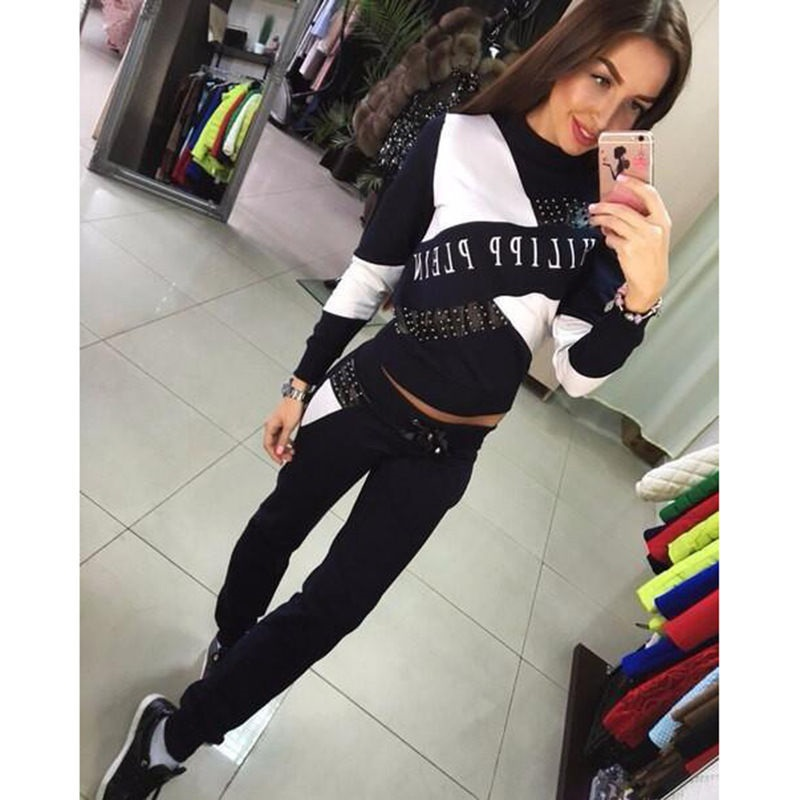 Sudaderas Mujer 2016 Womens Casual Tops Sweatshirt Pants Track Sweat Suits 2 Pcs Tracksuit Blue Black Plus Size 2XL