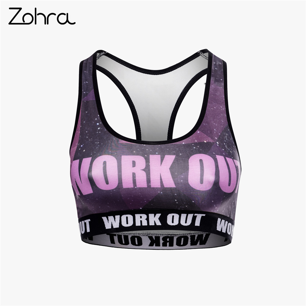 Zohra High Quality Women Fitness Bra Fashion Galaxy Printing Tops Breathable Woman Short Clothes