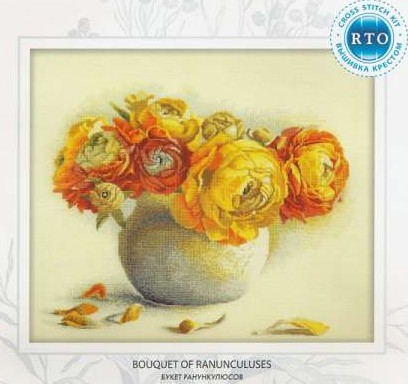 Gold Collection Counted Cross Stitch Kit Bouquet Of Ranunculuses Flower Flowers Peony Peonies Rto