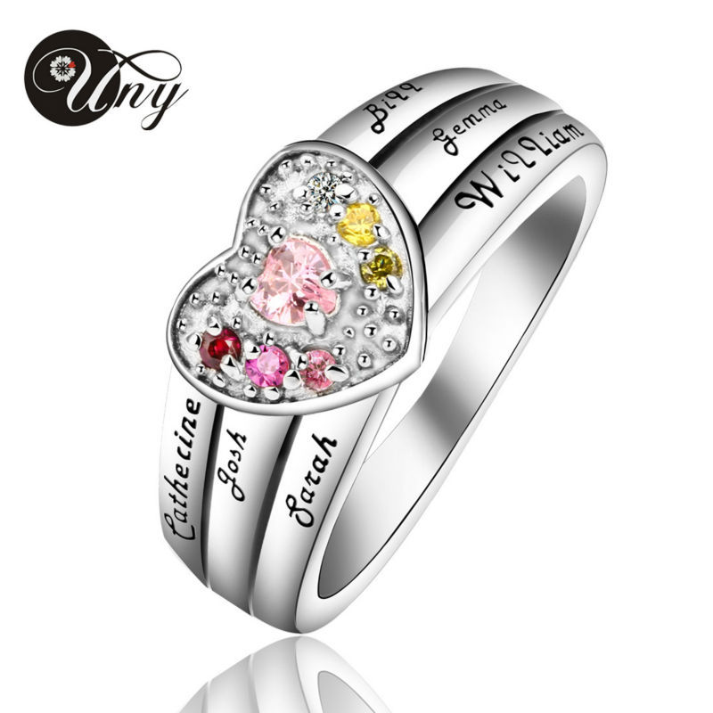 UNY Ring 925 Silver Custom Engrave Family Heirloom Rings Valentine gifts Heart Personalized DIY Birthstone Ring