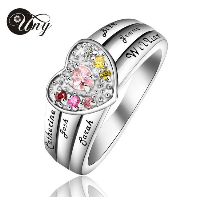 Uny Ring 925 Silver Custom Engrave Family Heirloom Rings Valentine Gifts Heart Personalized Diy Birthstone
