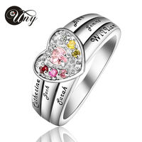 UNY 925 Sterling Silver Special Customized Engrave Gold Plated Family Valentine S Day Gift Heart Shape