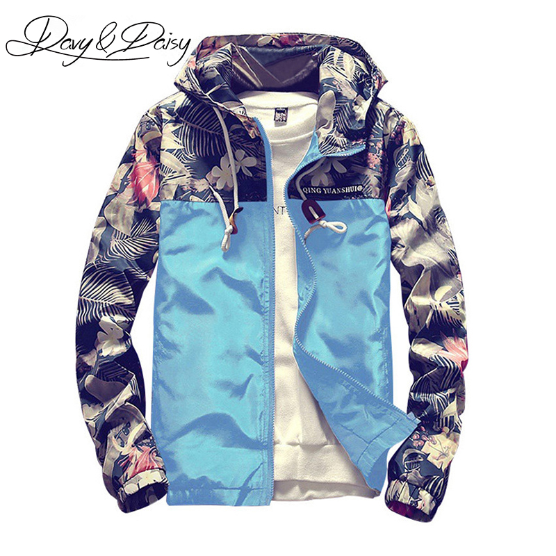 DAVYDAISY Mens Bomber Jacket Korean Style Slim Fit Floral Print Patchwork Hooded Casual Hip Hop Coat Men Brand Clothing DCT-196