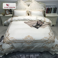 SlowDream European Luxury Embroidery Palace Bedding Set Blue Comfort Duvet Cover Set 100% Cotton Bed Set With Flat Sheet 4Pcs