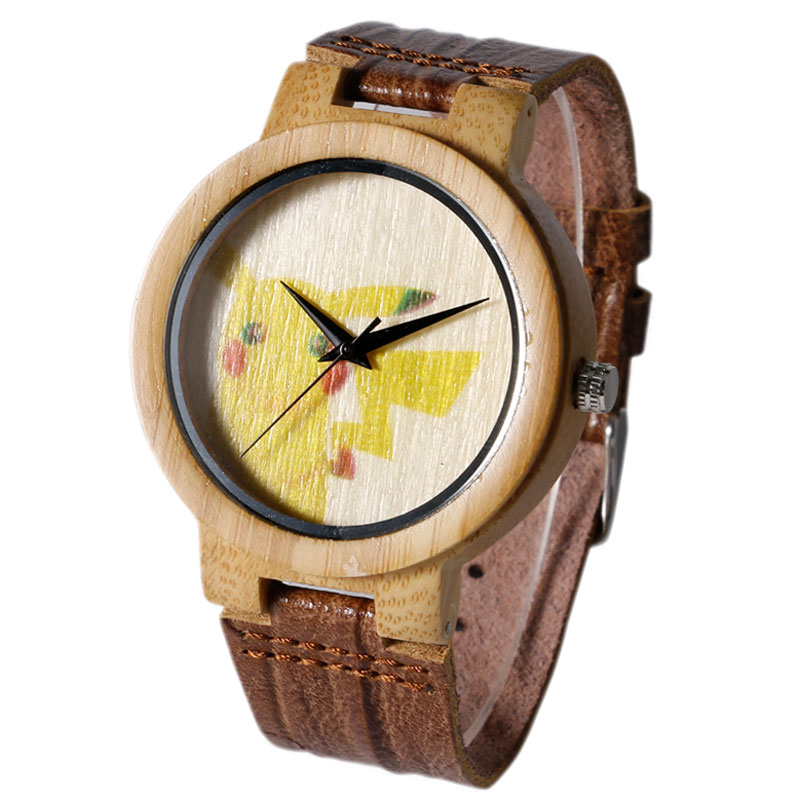 2017 New Arrival Genuine Leather Band Strap Bamboo Bangle Wristwatch Quartz Watch Clock Nature Wood Pikachu Handmade Pokemon Boy mens creative wooden watch bamboo handmade genuine leather band strap analog quartz wood wristwatch gift