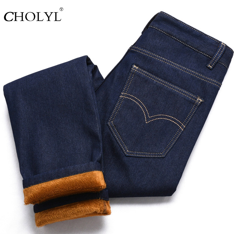 CHOLYL men in winter thick casual blue jeans Male pants