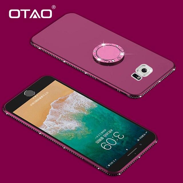 OTAO 3D Kim Cương Nam Châm Trường Hợp Đối Với Samsung S8 S9 Cộng Với S7 S6 Cạnh TPU Các Trường Hợp Lưu Ý 8 9 A6 A5 a7 J6 2018 J5 J7 Vòng Tay Chủ Bìa