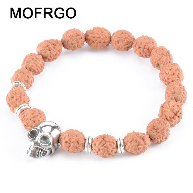 bec4a4f5b3 Tibetan Buddhism Natural Bodhi Mala Beaded Bracelet New Punk Skull Bead  Handmade Charm Prayer Beads Bracelets