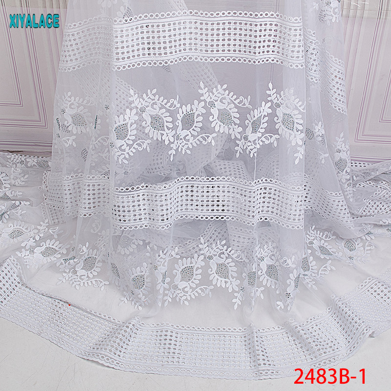 African Lace Fabrics 2019 Nigerian Swiss Voile Lace High Quality French Swiss Voile Lace In Switzerland For Wedding YA2483B-1