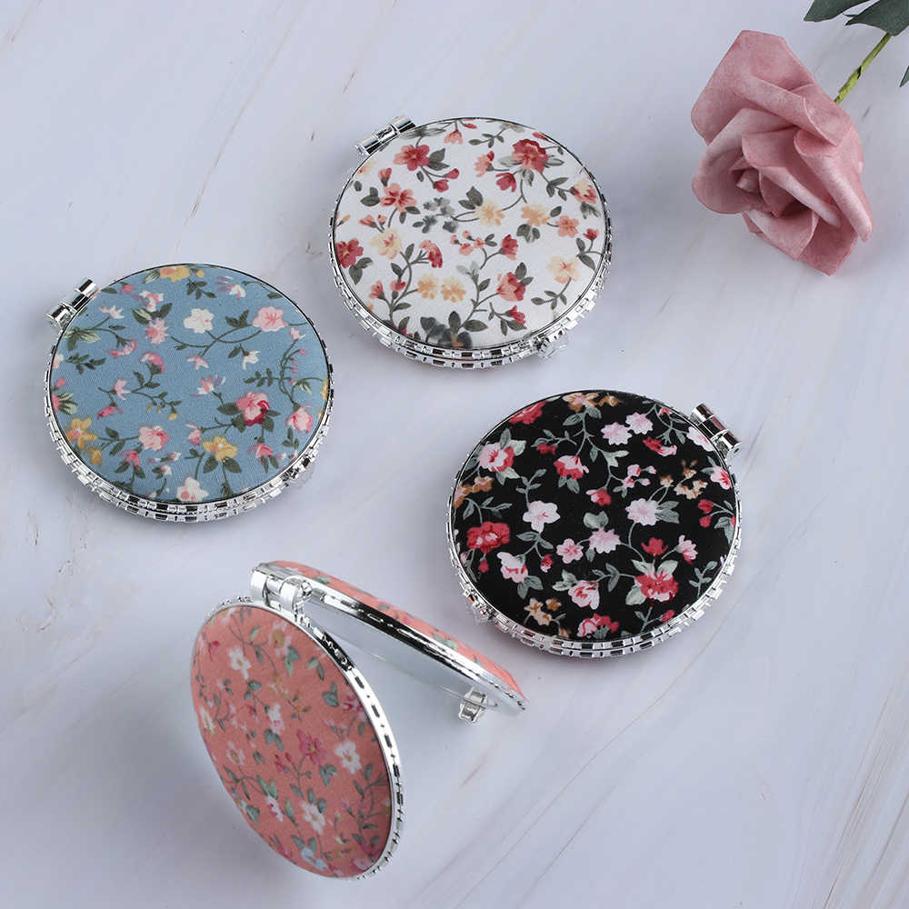 Random Color!! Women Portable Folding Round&Heart&Square&Oval Pocket Mirror Flower Two-side Makeup Mirrors Cosmetic Tools