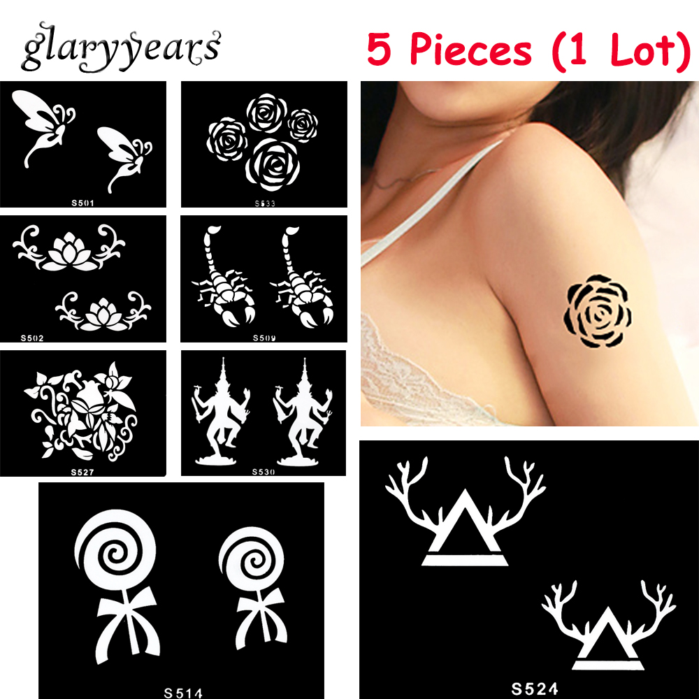 5 Pieces/lot Small Henna Body Stencil Beauty 72 Designs Life Tree Women DIY Hands Leg Art Airbrush Paint Drawing Tattoo Template