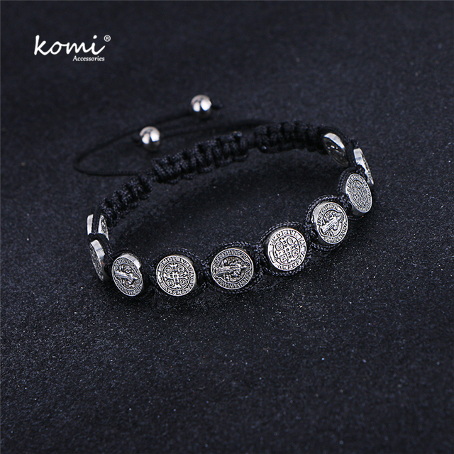 Komi Religious Catholic Handmade Braided Rosary Bracelet St Mary Metal Coin Beaded Bracelet Cross Classic Prayer Bracelets R 035