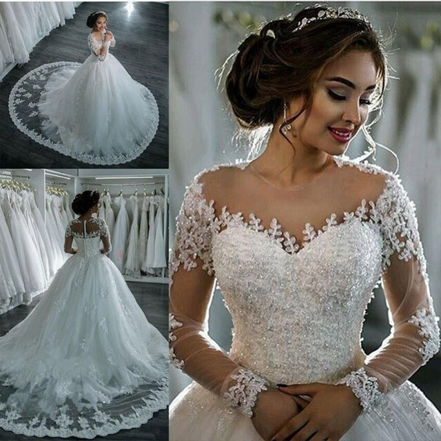 A Line Long Sleeve Wedding Dress Gown Tulle Appliques Beaded Princess Lace Wedding Gowns