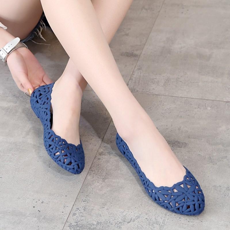 2018 De Creux Femmes Appartements D'été Respirant Fille Casual Gelée Sandales Dame Bleu argent Out Chaussures Mesh wqgUrwBFR
