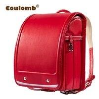 Coulomb Kid Orthopedic School Bag Children Backpack For Girl And Boys Students Bookbags Japan PU Japanese Randoseru Backpack Hot