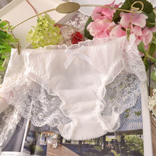 2017 Japanese lace lovely girl sexy panties hollow out silk yarn wrinkled underwear women bow breathable briefs lingerie p0126