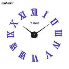 2017 mushein Roman Mirror 3D real big promotion home decor large Arrival Quartz Clocks fashion modern