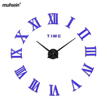 2017 mushein Roman Mirror 3D real big promotion home decor large Arrival Quartz Clocks fashion modern creative Free Shipping