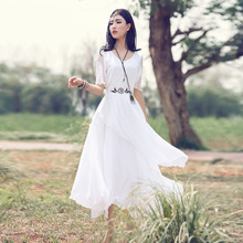 2017 Summer New Slim Bohemian Dresses White Long Maxi Dress Chiffon Party Dresses High Waist Boho Robe Femme Vestido De Festa(China)
